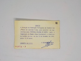 Cx13 B) Football Convite Invitation 19/11/1980 PORTUGAL NORTHERN IRELAND (1-0) 14X8,5cm UEFA Nations League - Soccer