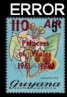 GUYANA 1982 Orchids Diana Birthday Bixe Orellana OVPT.110/$5 AIR ERROR:diff. I&O - Königshäuser, Adel