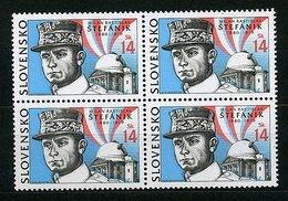 (B11 - Lot 242) Slovaquie ** N° 390 En Bloc De 4 Tbres - Portrait Stefanik, Astronome - Slovacchia