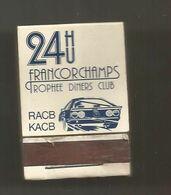 Boite D'allumettes , Pochette, Sport Automobile , FRANCORCHAMPS , Belgique , Trophée Diners Club ,RACB ,KACB , 2 Scans - Scatole Di Fiammiferi