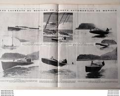 1912 LES LAURÉATS DU MEETING DE CANOTS AUTOMOBILES DE MONACO - URSULA - L'HISPANO SUIZA - LE SIGMA III - LE COCORICO II - 1900 - 1949