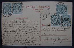 LetDoc. 262. Armoiries, 1c Gris N°53 (5x). Obli Centrale Anvers (rue De Jésus) 5 Octo 1908. Sur CP - 1893-1907 Armoiries