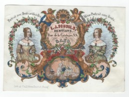 1 Carte Porcelaine Dentiste E. J. Schoul, Gand - Portrait Avec Et Sans Dents  Litho. T. Et D. Hemelsoet 16x 11,cm C1850 - Porzellan