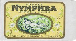 ETIQUETTE POCHETTE POUDRE NYMPHEA PARFUMEUR LORENZY PALANCE FRANCE PUBLICITE PARFUMS - Etiquettes