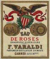 06 CANNES ETIQUETTE EAU DE ROSES PARFUMEUR DISTILLATEUR CHIMISTE VARALDI CHROMOGRAPHIE PUBLICITE PARFUMS - Etiquettes