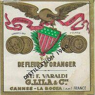 06 CANNES ETIQUETTE EAU DE FLEURS D'ORANGER PARFUMEUR DISTILLATEUR LILA  VARALDI PUBLICITE PARFUMS - Etiquettes