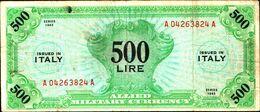 19788) Banconota Da 500 LIRE AM (ITALIANO) SERIE 1943 Banconota Non Trattata Senza Tagli O Buchi.vedi Foto - [ 3] Emissioni Militari