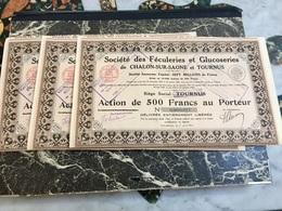 Sté Des Féculeries Et Glucoseries De CHALONS-sur-SAONE Et TOURNUS --------Lot  De  3  Actions  De  500 Frs - Agricoltura
