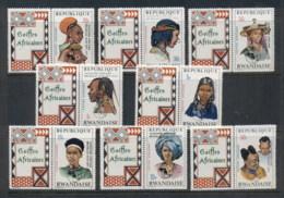 Rwanda 1973 Hairstyles, Opt Africa Week + Labels MUH - Rwanda