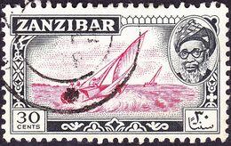 ZANZIBAR 1957 QEII 30c Carmine-Red & Black SG363 Fine Used - Zanzibar (...-1963)