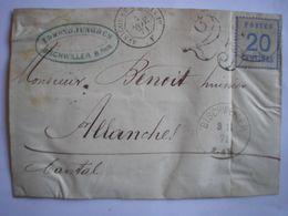 GUERRE De 70 - Devant De Lettre De Bischweiler Le 3/11/71 Pour Le Cantal + Taxe Française 25 Double Trait + Ambulant Dev - Alsace-Lorraine