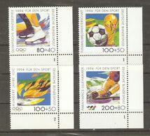 Allemagne Fédérale 1994 - Pour Le Sport -Série Complète MNH CDF - 1545/8 - Football - Patinage - Ski - Flamme Olympique - Briefmarken