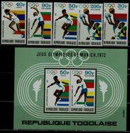 TOGO 1972 SUMMER OLYMPICS GAMES MUNICH 72 MI No 930-4+BLOCK 65 MNH VF!! - Summer 1972: Munich