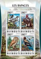 DJIBUTI - 2016 - Raptors - Perf 4v Sheet - M N H - Djibouti (1977-...)
