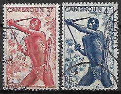 CAMEROUN     -   1946.    Y&T N° 286  &  288 Oblitérés.      Chasseur Tirant à L'arc - Cameroun (1915-1959)