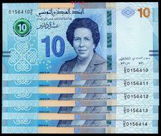 NEW 2020-10Dinars UNC-set Of 5 Notes-// Série De 5 Billets De 10 Dinars-N° Consécutifs ( ENVOI GRATUIT) /(FREE SHIPPING) - Tunisia