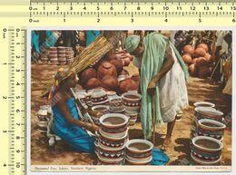 NIGERIA SOKOTO  Decorated Pots Nice Stamp, Old John Hinde Postcard - Nigeria