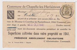 Chapelle Lez Herlaimont - 1941 - Recensement Des Superficies Cultivées Dans Votre Propriété En 1941 Pour STAQUET Georges - 1900 – 1949