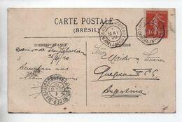 "1920 - CARTE Avec CACHET MARITIME ""BUENOS AYRES A BORDEAUX 1 LJ N°1"" - 1877-1920: Semi-moderne Periode"