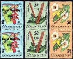 GUYANA 1981 Flowers Herbs Diana Wedding PAIRS.OVPT:SET3 - Königshäuser, Adel