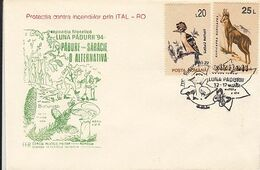 PLANTS, MUSHROOMS, TREES, FOREST'S MONTH, SPECIAL COVER, BIRD, CHAMOIS STAMPS, 1994,ROMANIA - Funghi