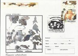 PLANTS, MUSHROOMS, FOREST MONTH, SPECIAL COVER, 1995,ROMANIA - Funghi
