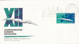 Spain 1970 Cover; Swimming Scchwimmen Natation; European Swimming Championships; Barcelona; Architecture Cancellation - Schwimmen