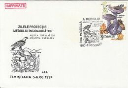 PLANTS, MUSHROOMS, EAGLE, ENVIRONMENT PROTECTION, SPECIAL COVER, 1997,ROMANIA - Funghi
