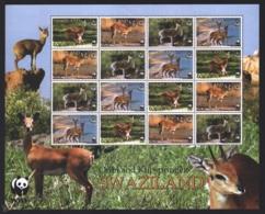 Swaziland 2001 Yvert 696-99, Fauna. Antelopes. Oribi & Klipspringer - Sheetlet - MNH - Swaziland (1968-...)