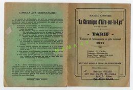 62 - LA CERAMIQUE D'AIRE SUR LA LYS - TARIF DE 1927 - VUE DE L'USINE - France
