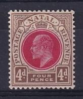 Natal: 1902/03   Edward (insc. 'Postage Revenue')    SG133    4d    MH - Sud Africa (...-1961)