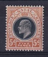 Natal: 1902/03   Edward (insc. 'Postage Revenue')    SG134    5d    MH - Sud Africa (...-1961)