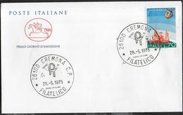 """ITALIA F.D.C. - 1975 - PROGETTO SAN MARCO - ANNULLO """" CREMONA C.P.*28.5.1975*FILATELICO"""" SU BUSTA FDC CAVALLINO - Europe"""