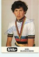 Noël DEJONCKHEERE, Champion Du Monde, Autographe Manuscrit Dédicace . 2 Scans. Cyclisme. Lotto - Cycling