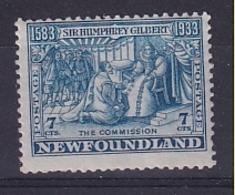 Newfoundland: 1933   350th Anniv Of Humphrey Gilbert's Annexation  SG241   7c    MH - 1908-1947