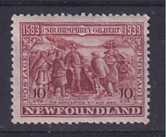 Newfoundland: 1933   350th Anniv Of Humphrey Gilbert's Annexation  SG244   10c    MH - 1908-1947