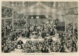Antique Engraving 1867 Japan Theater Stage Actor Spectators Performance Dance Katana Umbrella Art - Estampes & Gravures