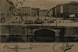 Livorno - Italy // Piazza  Carlo Alberto  (tram) 1900 - Livorno