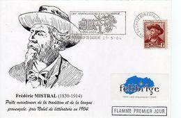 Frédéric Mistral Châteauneuf De Gadagne 1er Jour 21 05 2004 - Marcophilie (Lettres)