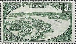 BRUNEI 1924 Native Houses, Water Village - 3c - Green  MH - Brunei (...-1984)