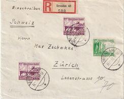 ALLEMAGNE 1937 LETTRE RECOMMANDEE DE DRESDEN AVEC CACHET ARRIVEE ZURICH - Covers & Documents