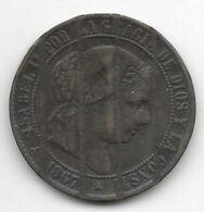 *spain 2,5 Centimos 1867 Om   3 Pointed Strar  Km 634.4     Vf  Destroyed - Zonder Classificatie