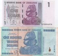 Zimbabwe : Paire De 2 Billets En Même Valeur : AVANT & APRÈS La Dénomination : $1 (2007) + $ 100.000.000.000.000 (2008) - Zimbabwe