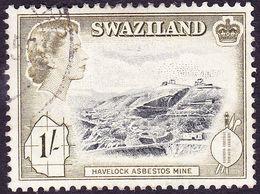 SWAZILAND 1956 QEII 1/- Black & Deep Olive SG59 FU - Swaziland (...-1967)
