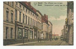 Gent Dampoortstraat Richting Naar De Dok Oude Postkaart Geanimeerd Gand Carte Postale Ancienne Animée - Gent