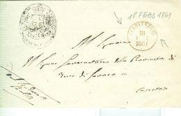 """""""VITTORIO EMANUELE RE D'ITALIA"""" COMUNE DI PAOLISI (BENEVENTO)- Senza Testo,ARIENZO(CASERTA)-18 FEBB 1861-DATA,RR, NOTA - Sardaigne"""