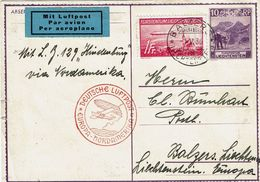 "PA 15 S/E.P. ""Furstentum"" De BALZER (1-V-36) à BALZER Mit Luftpost Par L.Z. 129 ""Hindenburg"" Via NORDAMERIKA +Obl. Rouge - Luchtpostzegels"