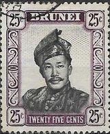 BRUNEI 1952 Sultan Omar Ali Saifuddin - 25c - Black And Purple FU - Brunei (...-1984)