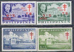 M2897 ✅ Medicine Tuberculosis Architecture Service Stamps 1959 Philippines 2 + 2v Set MNH ** - Geneeskunde