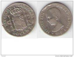 *spain   50 Centimos 1892    Pgm   Km   690 Vf+ - Zonder Classificatie
